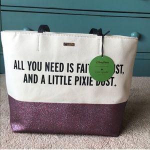 NWT Kate spade Disney tote purple glitter